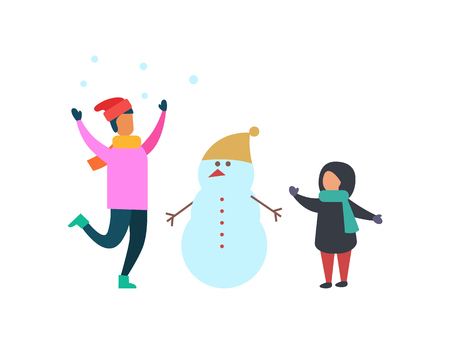 Winter activities of family mother and kid making snowman vector. Mom and child wearing warm clothes, having fun. Woman and son with round snow balls Ilustracja