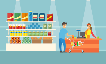 Supermarket cashier and client in shop vector. Man with shopping trolley buying bread products. Shelves with canned bottles, oil and packages products