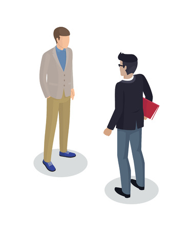 Businessman and client set of 3d isometric icons. Professional with file in red folder seance of boss and worker. Customers support isolated on vector