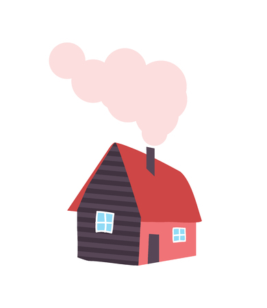 Winter House with Chimney, Smoke from Pipe, Vector