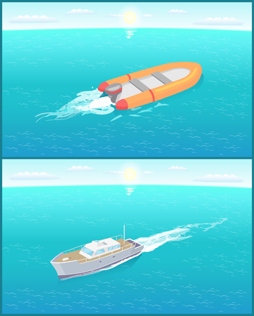 Inflatable rescue boat and yacht sailing in deep blue waters living trace. Safety rubber sailboat, transportation vehicles, motor rowing craft vector