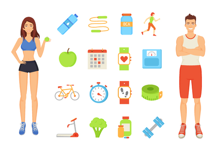Woman and man with isolated icons vector. Sportive people with ripe fruit and broccoli. Bike and treadmill, jumping rope and timer clock, jogging lady