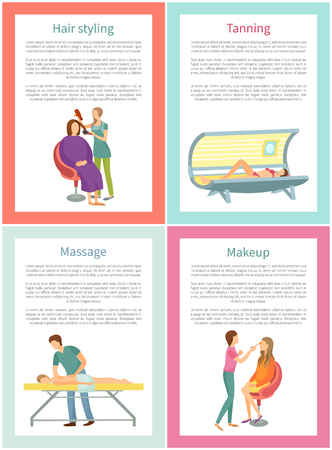 Hair styling tanning and massage posters with text sample vector. Solarium for changing skin color, hairdresser and man masseur with client, make up
