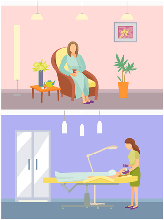Cosmetician and calm woman sitting in soft comfortable chair vector. Resort and spa salon services and procedures. Facial treatment, care for face Çizim