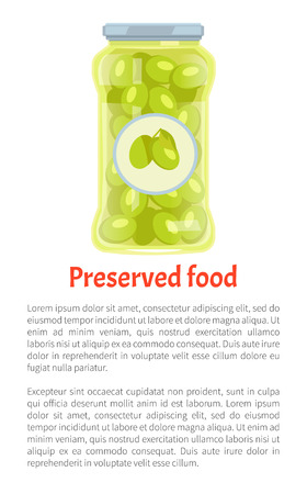 Preserved food promo poster with olives in jar and text. Greek vegetable, salty or spicy marinade inside glass container banner vector illustration. Иллюстрация