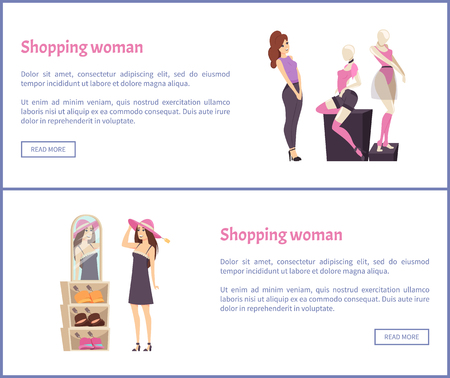 Shopping Woman Looks at Mannequins in Sexy Clothes Illustration