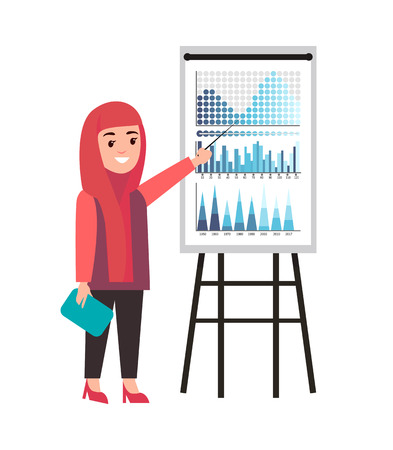 Presentation of muslim woman presenter on seminar vector. Flowcharts explanation by businesswoman holding papers documents. Infographics and charts