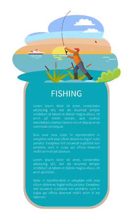 Fishing man with tackle gear poster with text sample. Throwing rod with bait fishman in lake or riverside reed or rushes on water and sunset on backdrop Vectores