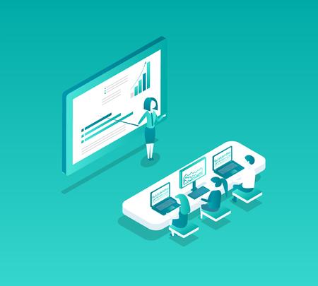 Blockchain Seminar Person Vector Illustration Stock Illustratie