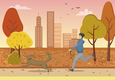 Autumn Park y Guy corriendo con perro con correa Ilustración de vector