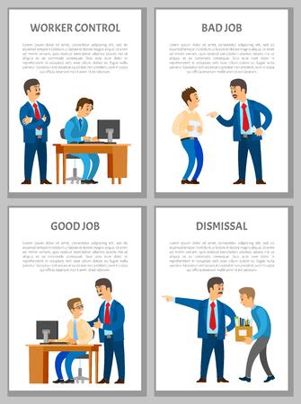 Arbeiterkontrolle, schlechter und guter Job, Entlassung von Arbeiterpostern. Boss Leader Director überprüft den Prozess und kontrolliert jeden Schritt, lobt und schreit Vektorgrafik