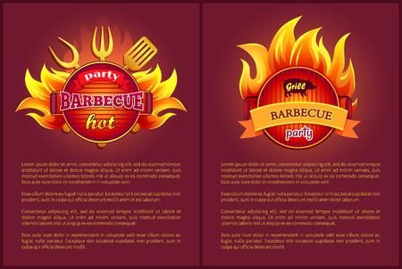 Iconos vectoriales de barbacoa caliente con insignias ardientes