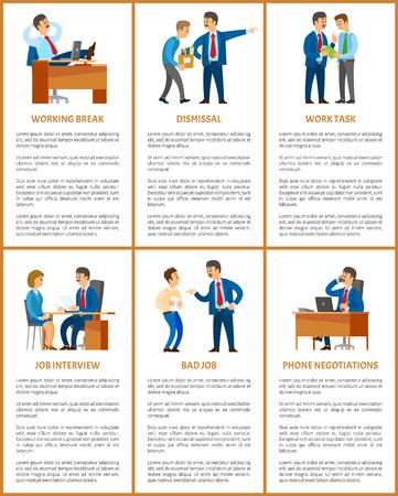 Office Work Process, Professional Relationships Иллюстрация