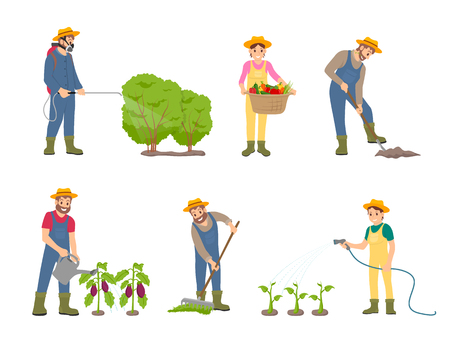 Woman and man working on land. Sprayer instrument for insect protection, harvesting and cultivation. Plants watering and compost spreading vector