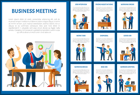 Business meeting of team, negotiation on phone posters with text sample set vector. Dismissal and working task, order of chief executive to personnel