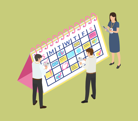 Calendar with dates and appointment information vector. Schedule of office workers writing down info to clipboard pages. Staff of company, personnel Ilustração