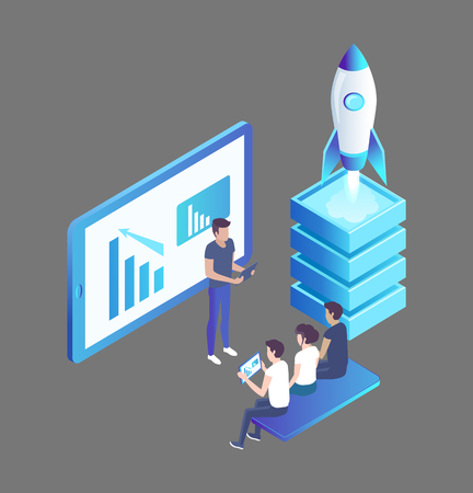 Computer monitor with information charts diagrams and launching rocket. Presentation presenter, giving data to workers. Seminar isolated icon vector