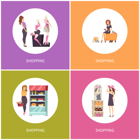 Shopping women shoes shop and caps, hat stores vector. Grocery fruit and vegetables department, buying food and meal. Clothes boutique with tshirts Иллюстрация