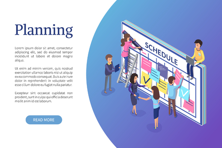 Planning business strategy, web page with text vector. Working employees, improvement of plans and business strategy. Schedule of workers colleagues