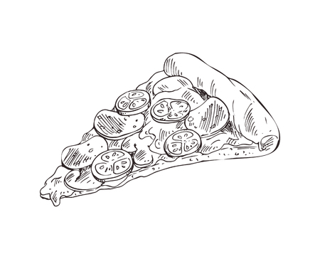 Hand drawn pizza slice vector monochrome illustration. Fast food badge sketch style for brochures and banner restaurant menu, cafe cover template