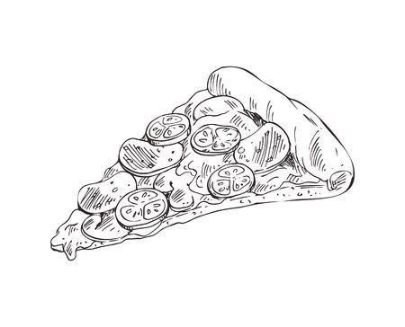 Illustration monochrome de vecteur de tranche de pizza dessinés à la main. Style de croquis d'insigne de restauration rapide pour brochures et menu de restaurant de bannière, modèle de couverture de café