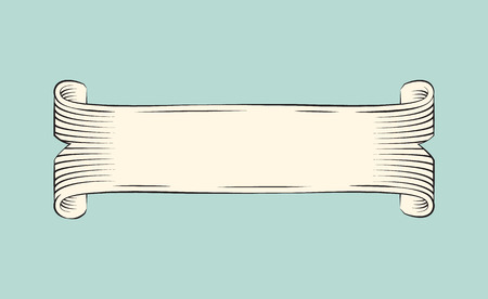 Ancient papyrus scroll for invitation card decoration. Vector olden paper ribbon for thematical vintage ornamentation. Heraldic swallowtailed stripe.