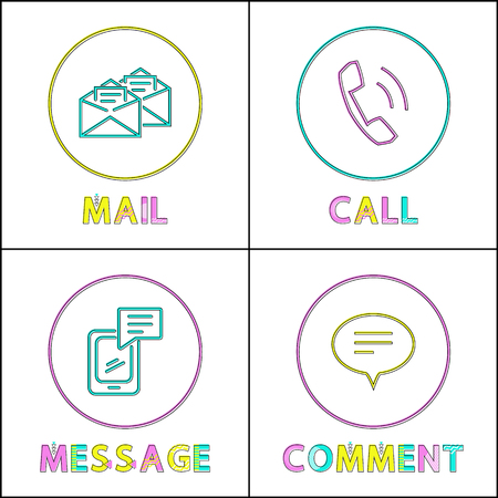 Icon set in outline style to depict feedback form. Simple call, electronic mail, text message or comment framed glyph with cutline on white backdrop.