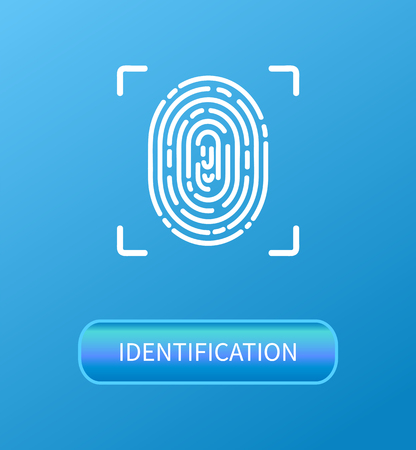 Identification fingerprint verification poster vector. Fingermark and thumbprint, dactylogram authorization process. Recognition of human personal data