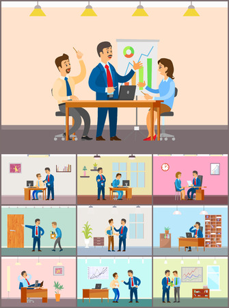 Business Meeting in Office, Teamwork in Conference Vector Illustratie