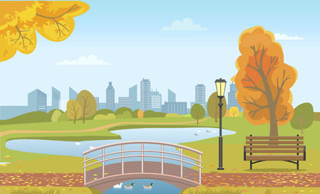 Autumn city park with pond and ducks under bridge, wooden bench, fall leaves on trees. Seasonal landscape, skyscrapers at horizon vector illustration. Stock Illustratie