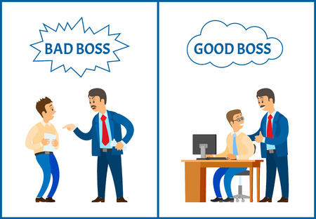 Bad and good boss, chief executive and workers vector. Leader monitoring working process, angry director giving official rebuke to scared manager