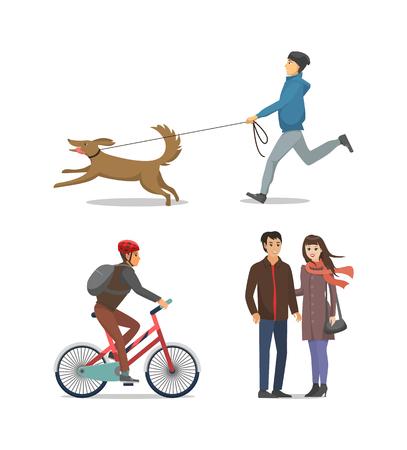 Huisdier aan leiband Jongen loopt samen geïsoleerde Vector Vector Illustratie