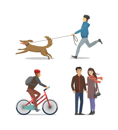 Pet on Leash Boy Running Together Isolated Vector Vettoriali