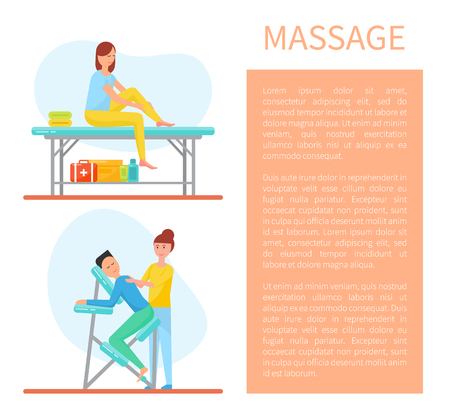 Massage of back and self care treatment method set vector. poster with text sample and working people, massages with clients doing work with oils Illustration