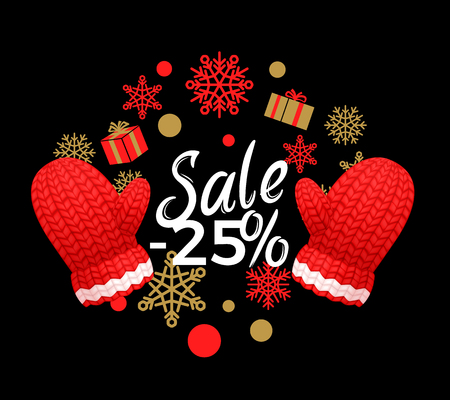 Winter sale 25 percent off poster. Wreath made of snowflakes, knitted red gloves. Woolen mittens realistic outfit gauntlet, warm wintertime accessory
