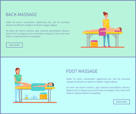 Back and foot medical massage session isolated cartoon vector banners set. Masseur in uniform and patient lying on special table covered by towel Stock Vector - 115187504