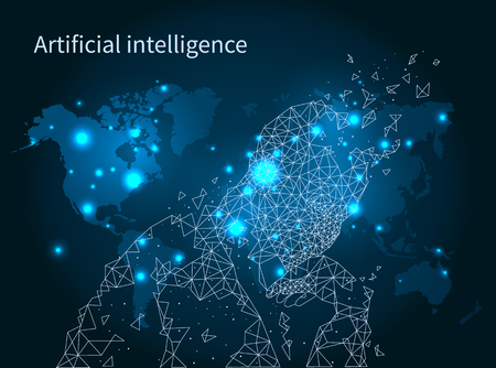 Artificial intelligence map network poster with text and person outline vector. Smart clever intellect of robot or cyborg. Brain resembling human mind Archivio Fotografico - 126250972