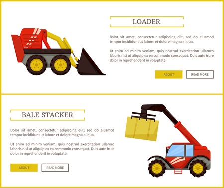 Bale stacker and loader set of posters with text. Agricultural machines for farming. Baler with cube of compressed dry hay cube transporting vector