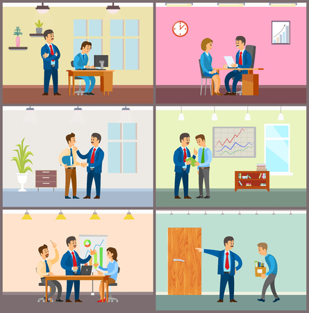 Supervisor of company with novice, boss in office vector. Director monitoring new worker by computer, hiring personnel. Meeting of team and discussion Illustration