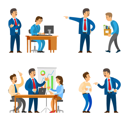 Boss in office, director firing man, bad employee walking to exit vector. Seminar business gathering of workers brainstorming and finding solution Foto de archivo - 126250975