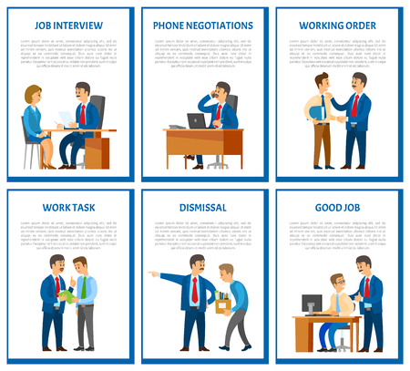 Interview and phone negotiations, business call of director of company vector. Working task and order of leader, dismissal of employee with boxes Illustration
