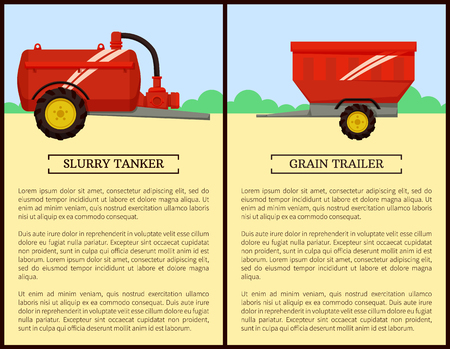 Agricultural machinery set cartoon vector banner. Grain trailer and slurry tanker, isolated new technique and farming equipment poster, text sample