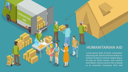 Affiche d'aide humanitaire et d'aide aux personnes avec un exemple de texte vectoriel. Voiture de camion et volontaires donnant des boissons d'eau et du pain cuit au four pour le réfugié pauvre