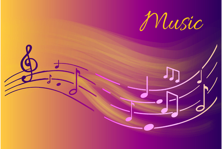Music notes, melody visual representation on sheet vector. Semiquaver and la sound, wavy lines with musical elements, organized tablature with glowing