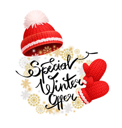 Special winter offer promo banner with warm red hat, pom-pom, knitted gloves. Woolen mittens and headwear, realistic outfit gauntlet, personal accessories Illustration