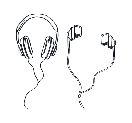 Headphones types, earphones kinds monochrome sketches outline vector line art. Headset with cable and adjustable headband. Listening music device, accessory 일러스트