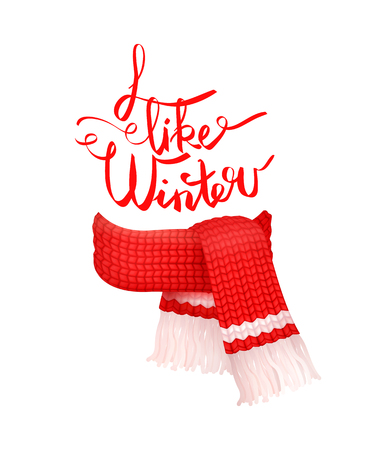 I like winter greeting card, red knitted scarf with white woolen threads isolated vector. Cachemire handmade warm neckerchief accessory, wintertime cloth Illustration
