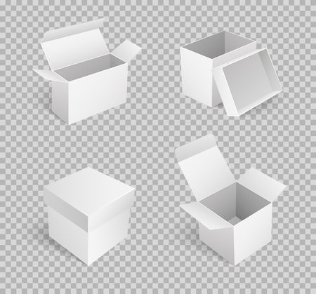 Carton boxes with open top, empty package isolated icon vector on transparent. Cardboard place to store items, storage and keeping goods, transportation