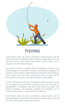 Fishman standing on riverside in reed or rushes throwing fishing rod or tackle gear. Fisher angling hobby and leisure time activity vector poster.
