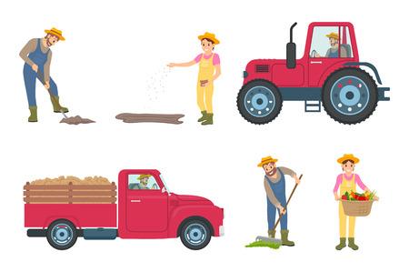 Fermier creusant, plantant l'homme et la femme. Tracteur et voiture avec remorque pour le transport, mâle répandant du compost. Personne tenant le vecteur de panier de légumes Vecteurs